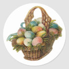 Colourful Easter Eggs Fill a Vintage Easter Basket Classic Round Sticker