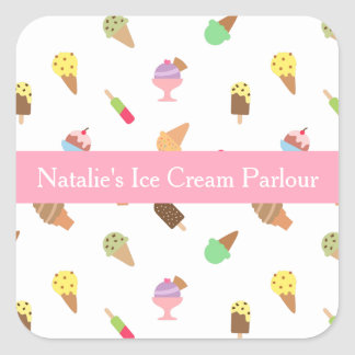 Colourful, Elegant, Ice Cream Parlour Business Square Sticker