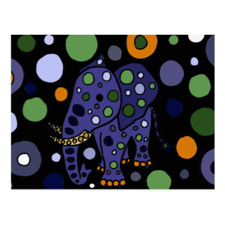 Colourful Elephant and Circles Art Design Postcard