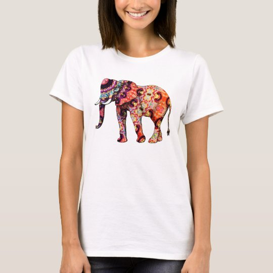 Colourful Elephant Art Illustration T-Shirt