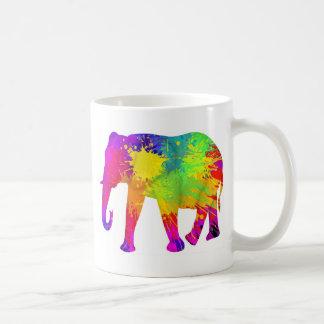 Colourful Elephant Design Classic White Coffee Mug