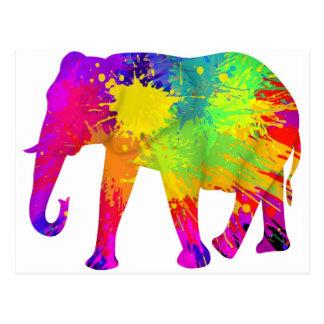 Colourful Elephant Design Postcard