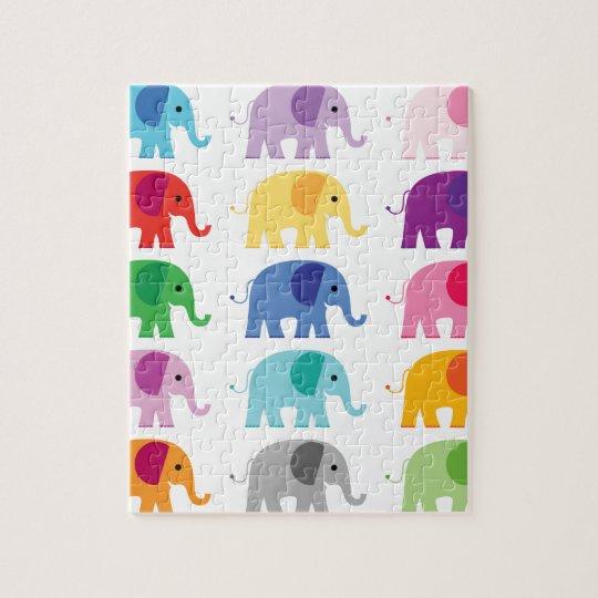 Colourful elephants jigsaw puzzle