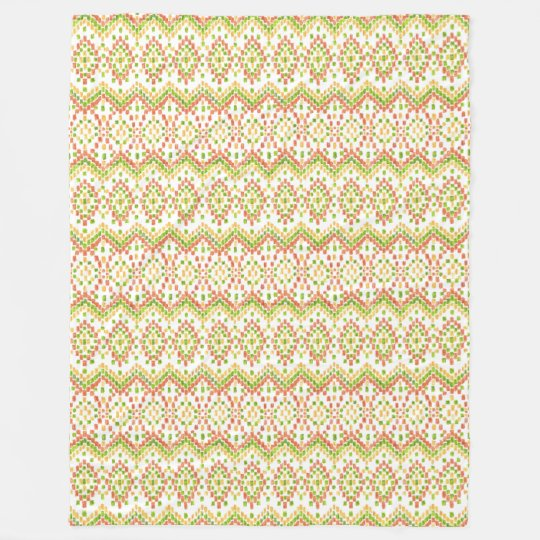 Colourful Ethnic Ikat Pattern on White to Fleece Blanket