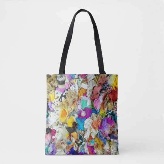 colourful fabric collage tote bag