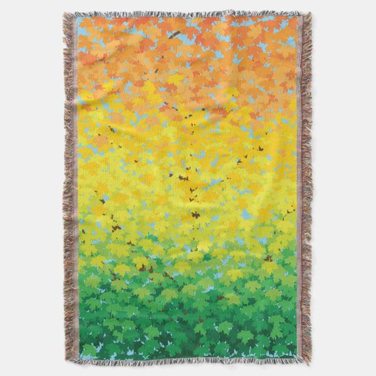 Colourful Fall Foliage Maple Leaves Ombre Pattern Throw
