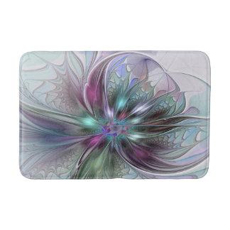 Colourful Fantasy Abstract Modern Fractal Flower Bathroom Mat