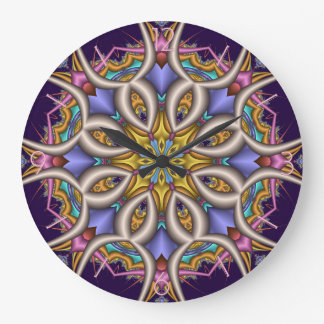Colourful fantasy flower large clock
