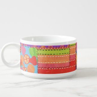 Colourful Faux Patchwork of Summer Fruits Patterns Chili Bowl