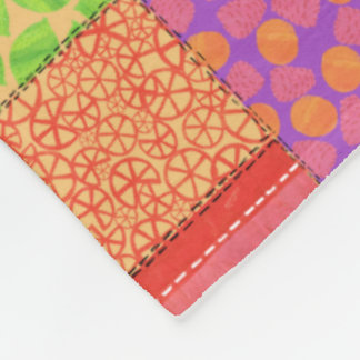 Colourful Faux Patchwork of Summer Fruits Patterns Fleece Blanket