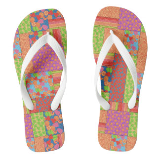 Colourful Faux Patchwork of Summer Fruits Patterns Flip Flops