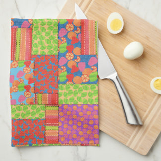 Colourful Faux Patchwork of Summer Fruits Patterns Kitchen Towel