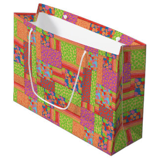 Colourful Faux Patchwork of Summer Fruits Patterns Large Gift Bag