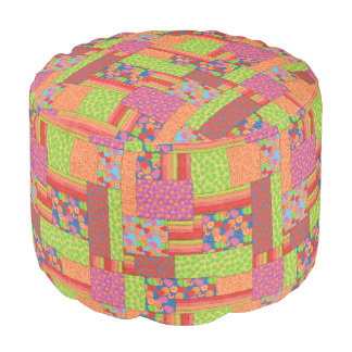 Colourful Faux Patchwork of Summer Fruits Patterns Pouf