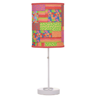 Colourful Faux Patchwork of Summer Fruits Patterns Table Lamp