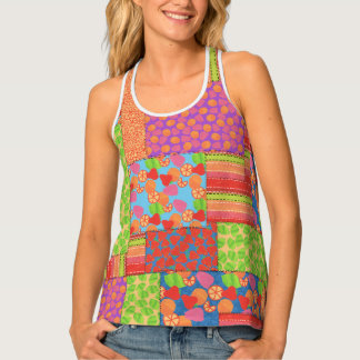 Colourful Faux Patchwork of Summer Fruits Patterns Tank Top