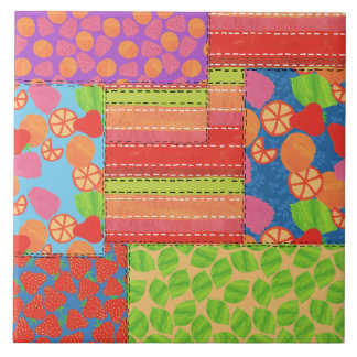 Colourful Faux Patchwork of Summer Fruits Patterns Tile