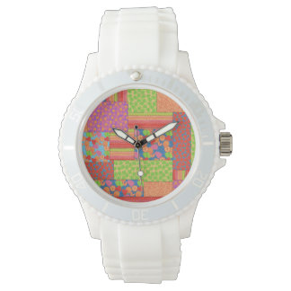 Colourful Faux Patchwork of Summer Fruits Patterns Watch