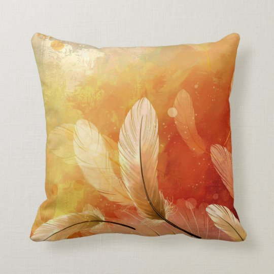 Colourful Feather Painting Throw Pillow
