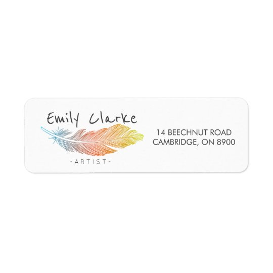 Colourful Feather Personalized Return Address Label