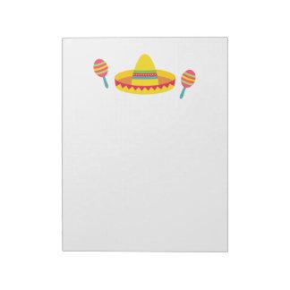 Colourful Fiesta Sombrero Hat Maracas Notepad