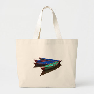 Colourful Fishing Boats Large Tote Bag