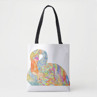 Colourful flamingo tote bag with blue back