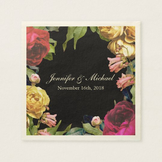 Colourful Floral Artistry Wedding Paper Napkin