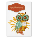 Colourful Floral Autumn Owl Happy Thanksgiving Greeting Card