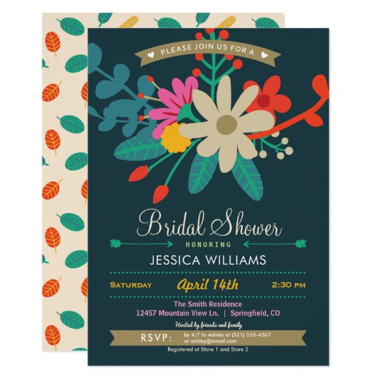 Colourful Floral Bridal Shower Invitation