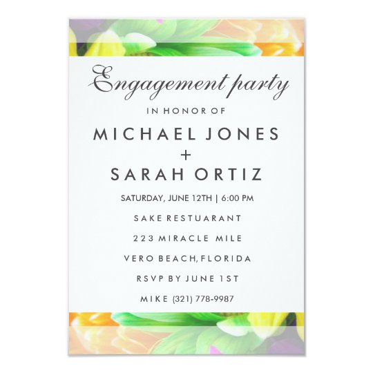 Colourful Floral Engagement Party Invitation