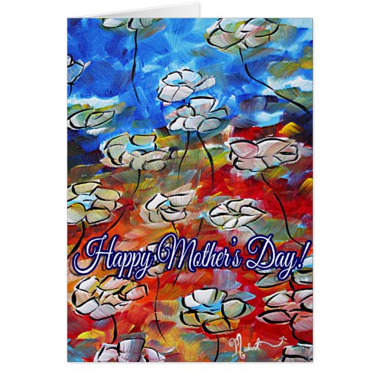 Colourful Floral Flower Art Mothers Day Card