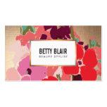 Colourful Floral, Gold Elegant Beauty Salon Business Card