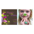 Colourful Floral Leaves Birthday Invite Photo Card