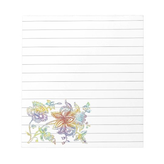Colourful floral paisley notepad
