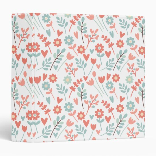 Colourful floral pattern art binders