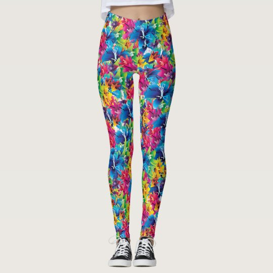 Colourful floral pattern, flowers, blue pink leggings