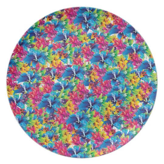 Colourful floral pattern, flowers, blue pink plate