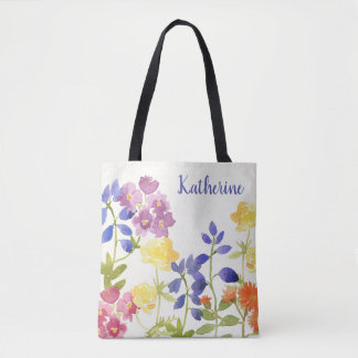 Colourful Floral Personalised Watercolour Tote Bag