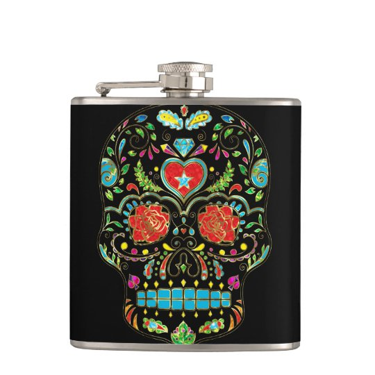 Colourful Floral Sugar Skull Glitter And Gold 2 Hip Flask
