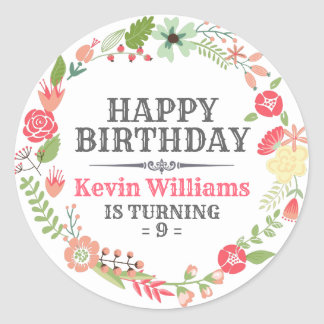 Colourful Floral Wreath Happy Birthday Text Classic Round Sticker
