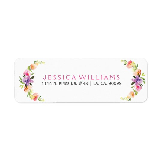 Colourful Floral Wreath Watercolors Illustration Return Address Label