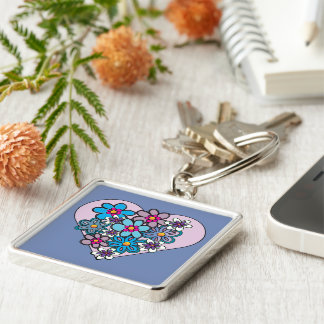 Colourful flower and heart design keyring
