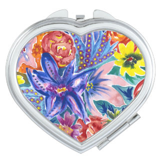 Colourful Flower Bouquet Watercolor Compact Mirror