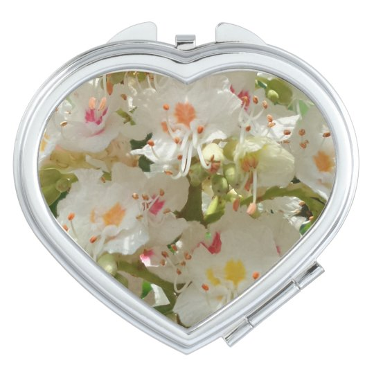 Colourful Flower  Heart Compact Mirror