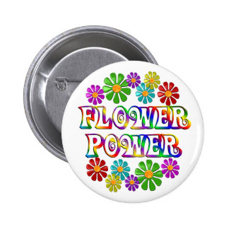 Colourful Flower Power 2 Inch Round Button