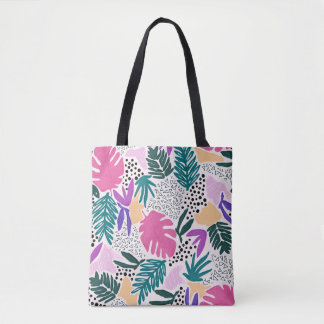 Colourful Flower Shapes Tropical Pattern Tote Bag
