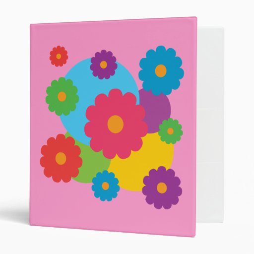Colourful Flowers 3 Ring Binder