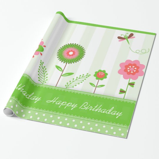 Colourful Flowers And Butterflies- Happy Birthday Wrapping Paper