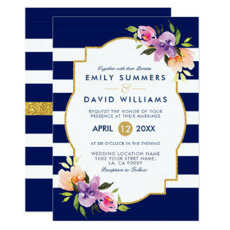 Colourful Flowers Bouquet Frame Wedding Invite